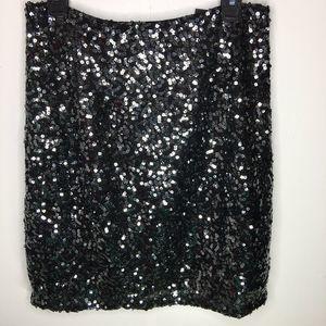 Tahari Black Sequin Dani Skirt Size 8